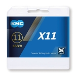 """Schaltungskette KMC X11 silber/schwarz 1/2"""" x 11/128"""", 114 Glieder,5,65mm,11-f."""
