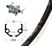 V-Rad 28x1.75Nabend.DH3N72 silb.SSP 36L Ryde Zac 19 schw/silb. Niro-Speiche