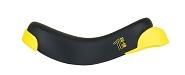 Sattel QU-AX Luxus Einrad 4 Schrauben mit Griff, schwarz mit Kantenschutz gelb