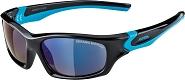 Sonnenbrille Alpina Flexxy Teen Rahmen schwarz/cyan Glas blau versp.S3